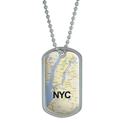 Mapa de la ciudad de Nueva York - NYC - Militar etiqueta de perro ...