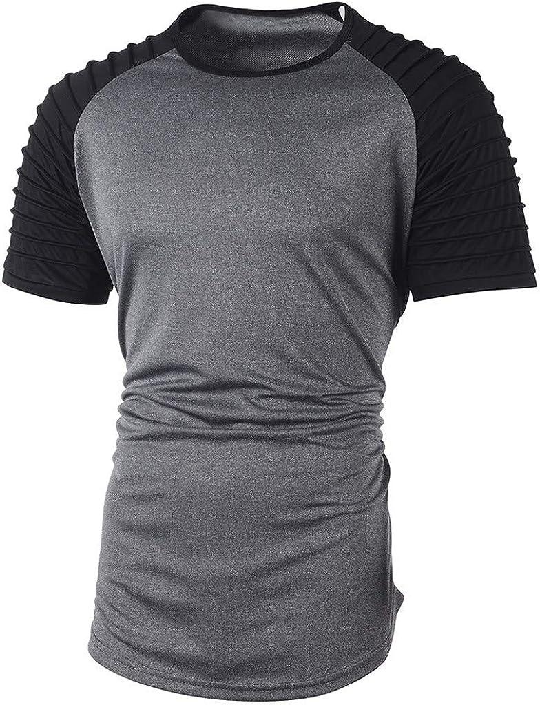 iLXHD Mens Raglan Jersey Shirt Summer Pleats Slim Fit Short Sleeve Top Blouse Casual T-Shirt