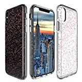 Protective Phone Case For iPhone X By My Gadget Shops: Slim iPhone 10 Cover, Dual Layer Hard PC Shell And Soft TPU, Non-Slip And Anti-Scratch, Apple Smartphone Drop Protection (RoseGold-Stars)