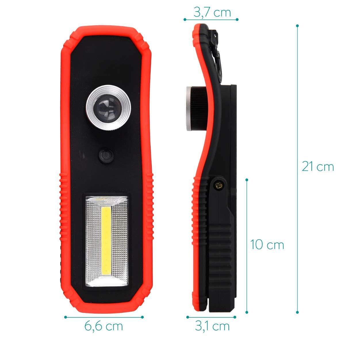 Navaris 2X Lampada da Lavoro LED COB Portatile Torcia Ricaricabile a batterie Clip Magnetica Gancio Luce Emergenza ispezione Auto Garage Officina