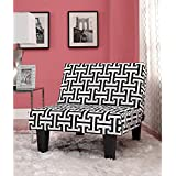 Kebo Chair, Black and White Geometric Pattern with Dark Leg Durable microfiber upholstery Surface wipes clean damp cloth Multi-position Product Dimensions (L x W x H): 31.50 x 32.00 x 29.00 Inches