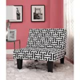 Kebo Chair, Black and White Geometric Pattern with Dark Leg Durable microfiber upholstery Surface wipes clean damp cloth Multi-position Product Dimensions (L x W x H): 31.50 x 32.00 x 29.00 Inches For Sale