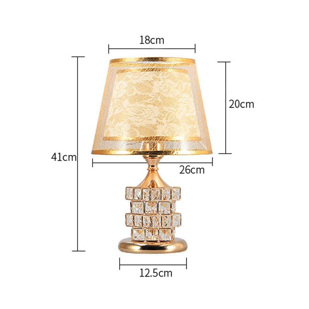 Table Lamp Coffee Table Lamp- 41cm Modern Bedroom Bedside Lamp Crystal European Luxury Wedding Table Lamp Creative Cube Warm Bedroom (Color : Gold) by Hyun times table lamp (Image #3)