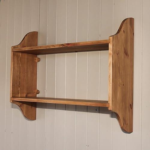 Open Back 3 Tier Pine Wall Shelf, Rack,in Antique Pine 24
