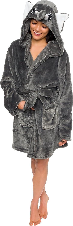 Silver Lilly Women's Animal Hooded Robe - Plush Short Elephant Bathrobe