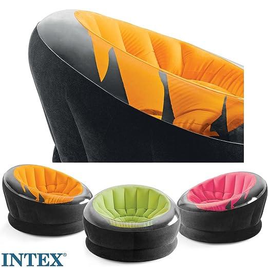 INTEX dubone, naranja, flocado asiento, para interior y exterior ...