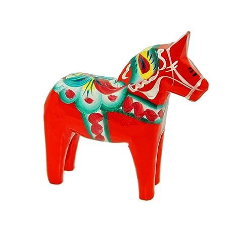 "Swedish Wooden Dala Horse - Red - 8"""