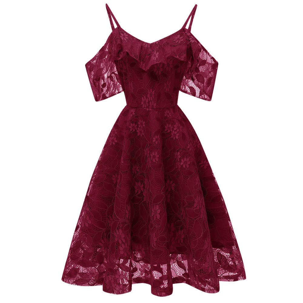 DEATU Princess Dress Women Vintage Floral Cute Lace Cocktail Neckline Ladies Party Swing Sleeveless Dress DEATU-womens dresses