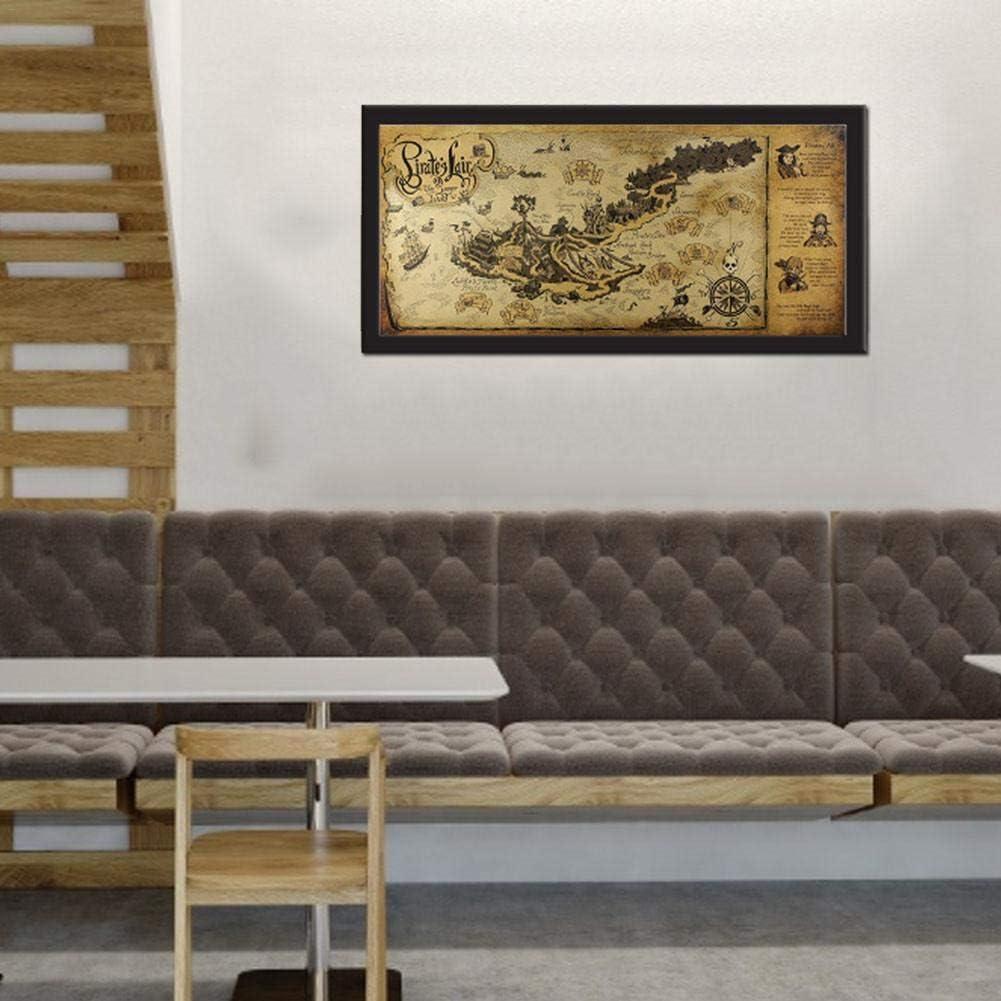72x33cm D/écoration murale pour affiches en papier Kraft Liteness Ancien d/écor de carte au tr/ésor de pirate caf/é ordinary opportune Image de d/écoration murale suspendue pour salon