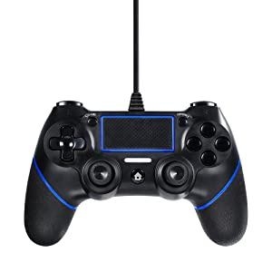 Lilyhood PS4 Wired Controller for Playstation 4, Professional USB PS4 Wired Gamepad for Playstation 4/PS4 Slim/PS4 Pro Cable Length 6.5foot (Black) (Black)