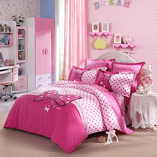 LOVO Luxury Bowknot 100% Cotton 3 Pieces Bedding Set: 1x Duvet Cover, 1x Flat Sheet, 1x Pillowcase Pink Twin