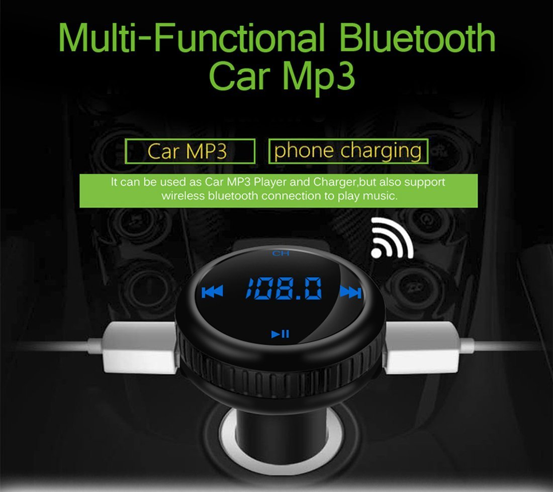 Bluetooth FM Transmitter, ONEVER Car Charger with Smart Locator, 5V 2.1A USB Charging Port, Wireless In-Car Radio Adapter MP3 Player Hands-Free Calling Car Kit for iPhone Samsung Smartphone by ONEVER (Image #6)