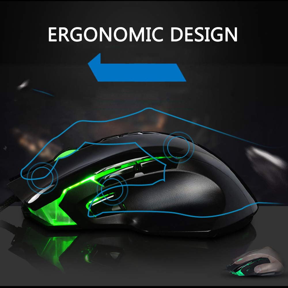 Philips Gaming Mouse, USB Wired Optical Gaming Mice with 4000 DPI High Precision, 3 Programmable Side Buttons, 4 Adjustable DPI Levels, 8 Buttons with 7 Backlight Modes for Notebook, PC, Laptop, Macbo
