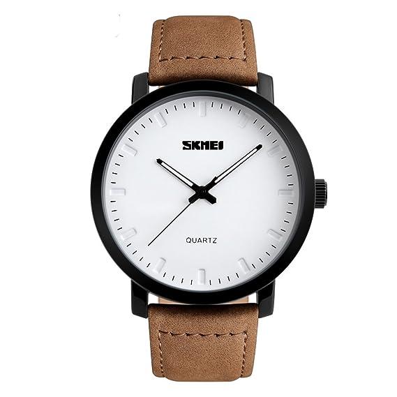 Relojes de cuarzo analógico para hombres, correa de cuero marrón, resistente al agua hasta 30 m, reloj de pulsera de negocio casual para hombre: Amazon.es: ...