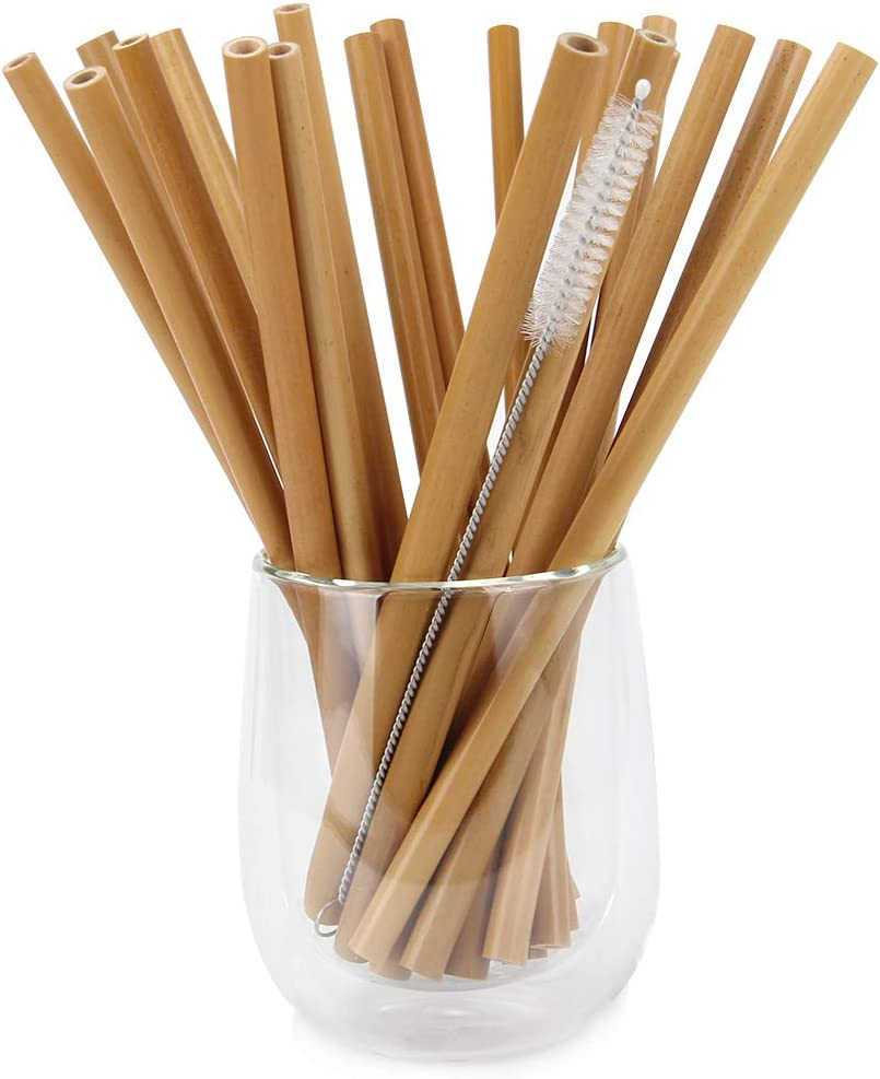 Mochiglory 20pcs Bamboo Straws Reusable Drinking Straws with Brush and Box Alternative to Plastic - Great for Hot & Cold Beverages - Natural Handmade
