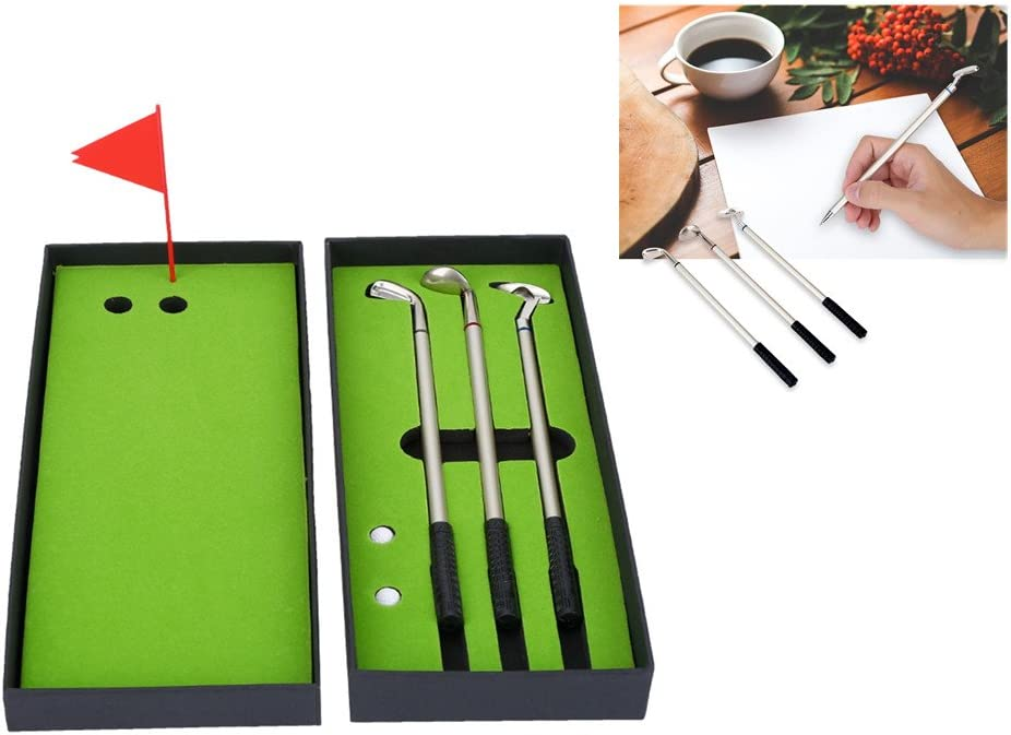 Vbestlife Golf Clubs Pens Golfers Novelty Mini Ball-Point Pen Gift Set with Balls Flag Stationery Decorations
