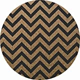 Chevron Cork Round Floor Mat: 100% Natural Cork and Rubber, Durable, Easy-To-Clean, Antimicrobial, Hypoallergenic