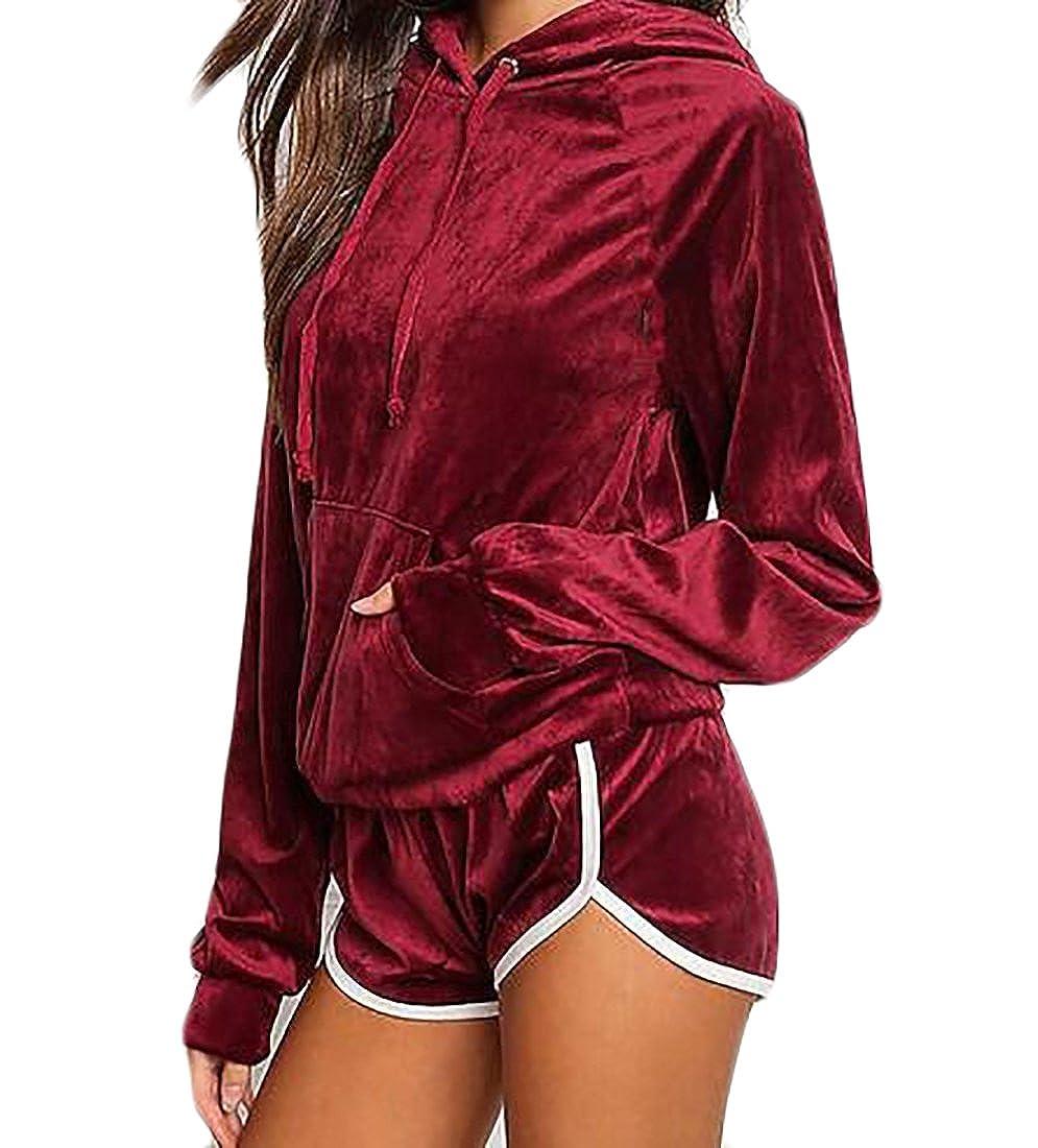 KLJR Women's Autumn Sport Velvet Pocket Hoodie Sweatshirt Short Set Tracksuit