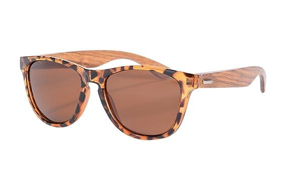 SHINU Wooden Wayfarer-Sonnenbrille UV400 bunten Flash-Spiegel-Objektiv-Holz Brillen-Z6100 (matte black-zebra wood, sky blue)