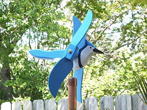 Blue jay Whirligig, handmade from solid southern cypress and solid brass hardware ()
