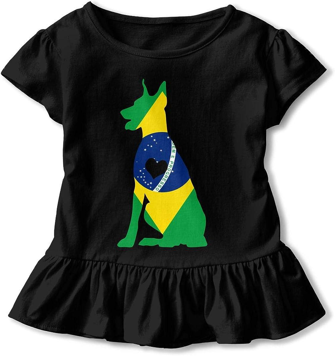 26NSHIRT Brazil Flag Adore Dobermans Dog Toddler Baby Girl Short Sleeve Fashion T-Shirts