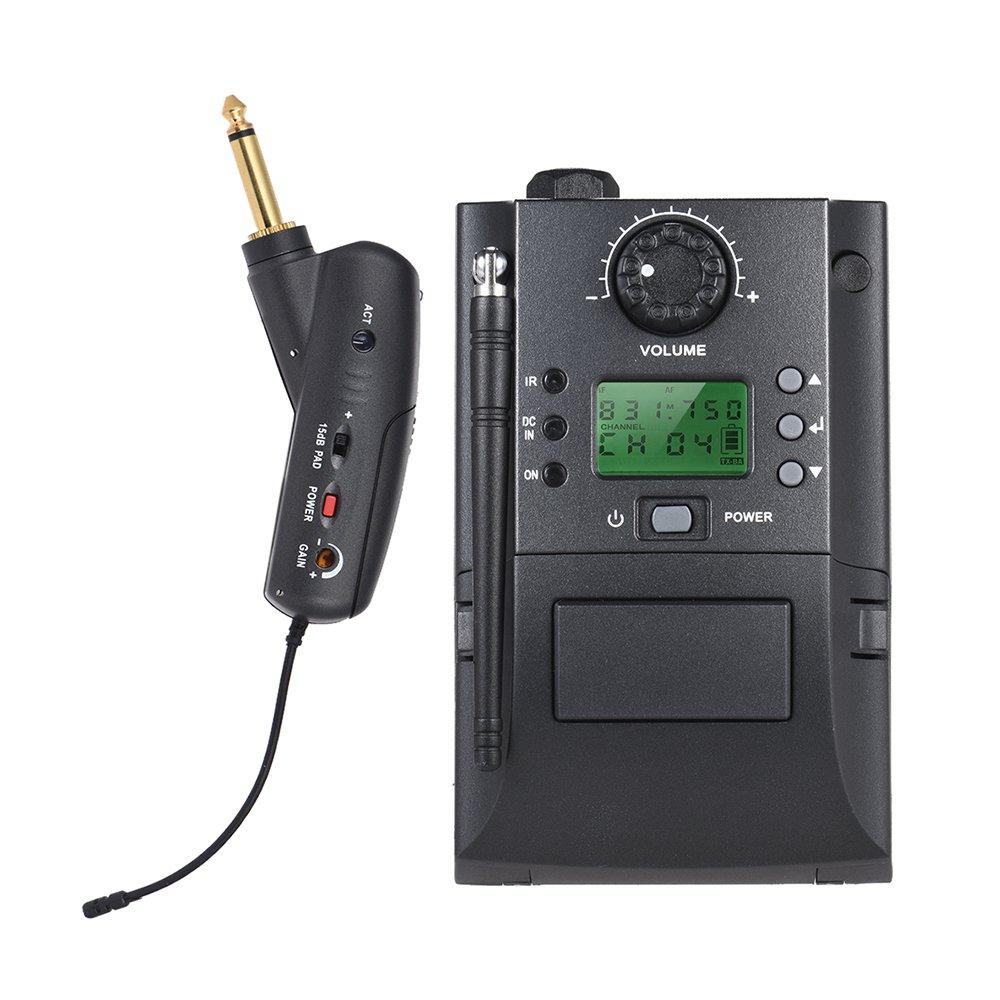 ammoon Sistema de Micrófono Inalámbrico Instrumento UHF Portátil con Receptor y Transmisor 32 Canales para Guitarra Eléctrica: Amazon.es: Instrumentos ...
