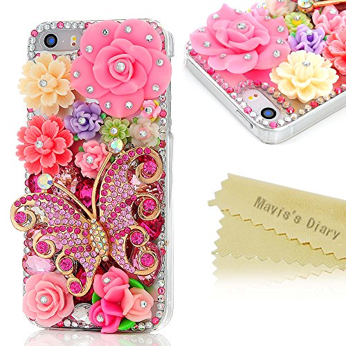 Mavis's Diary for iPhone 5S Case,iPhone SE Case,iPhone 5 Case, 3D Handmade Bling Crystal Pink Butterfly Colorful Flowers Shiny Rhinestone Diamond Hard Case Clear Cover for Iphone SE 5 5S