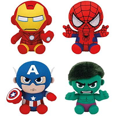 Set of 4 Ty Marvel Beanie Baby Spider-Man, Hulk, Iron Man & Captain America: Toys & Games