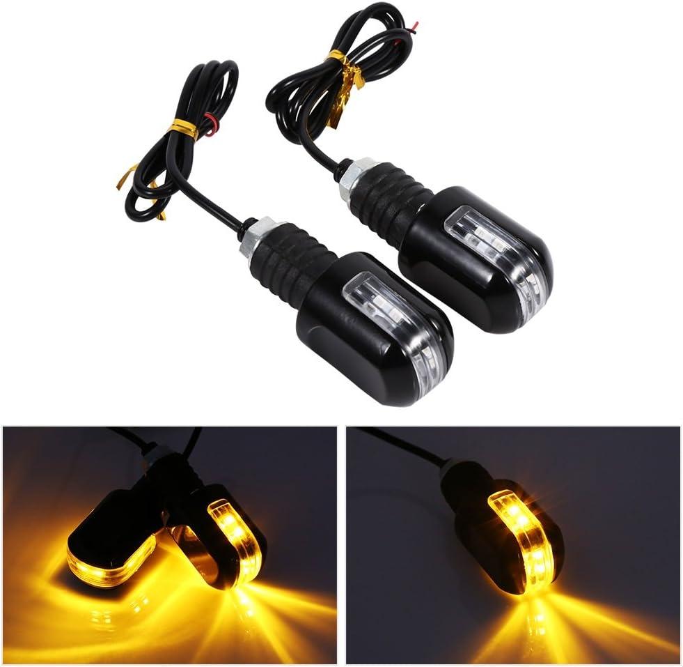 Mini Motorcycle Turn Signal Indicator Lights 12-SMD 2835 Chips White Flowing LED Lights for Yamaha Suzuki Kawasaki Waterproof .2-Pack.