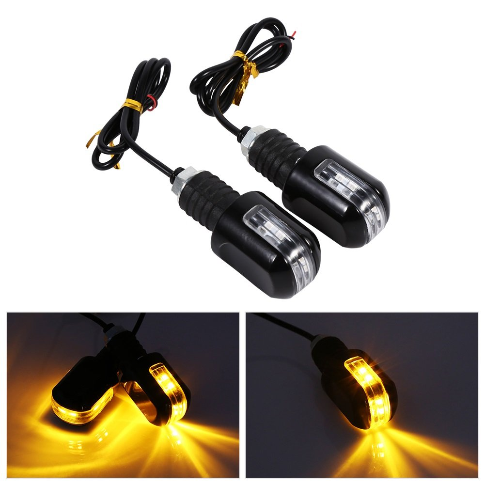 Motorcycle Turn Signals Lights Universal 6 LED Waterproof Turn Signal Indicator 12V Pilot Lamp Indicator Amber Light VGEBY