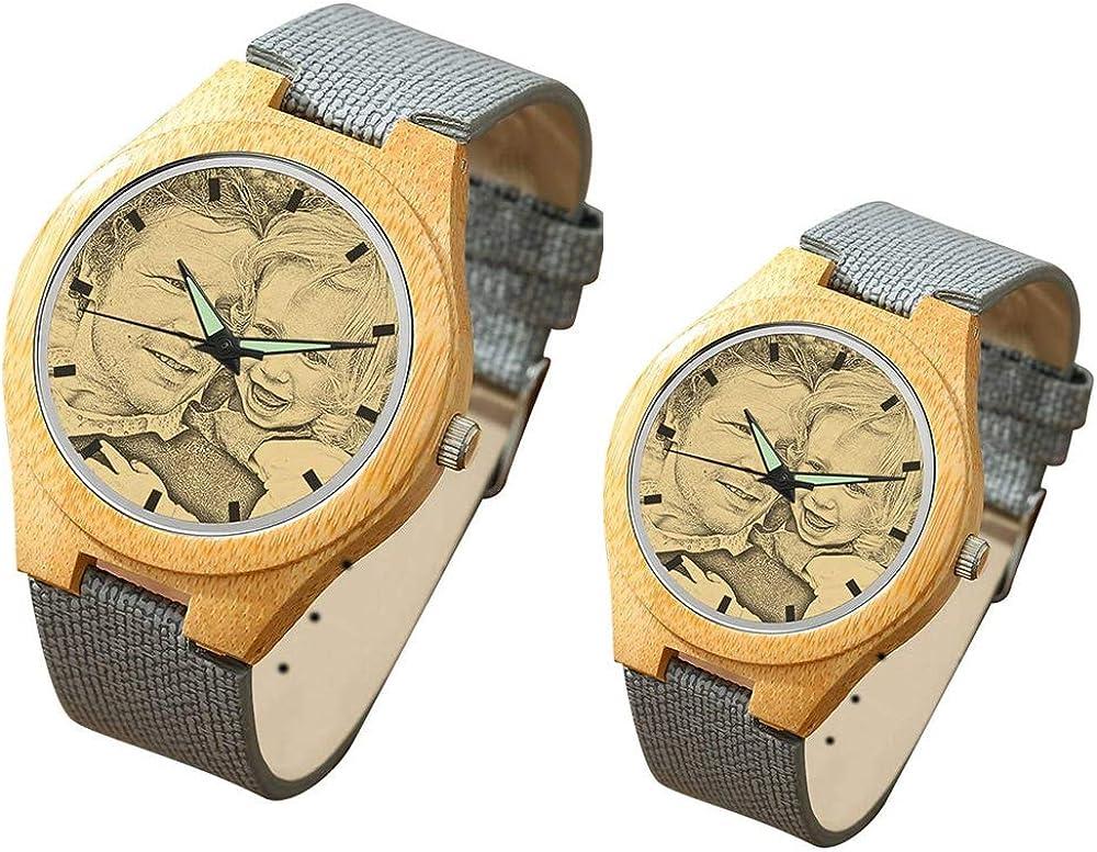 Reloj de Pulsera para Parejas Reloj Personalizado con Foto y Grabado de Cuarzo Analógico Relojes para el Día de la Madre (1 par)