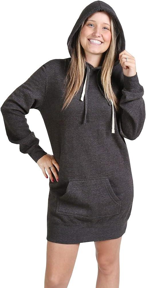 Women Sports Hooded Sweatshirt Hoodie Dress Long Sleeve Pocket Pullover