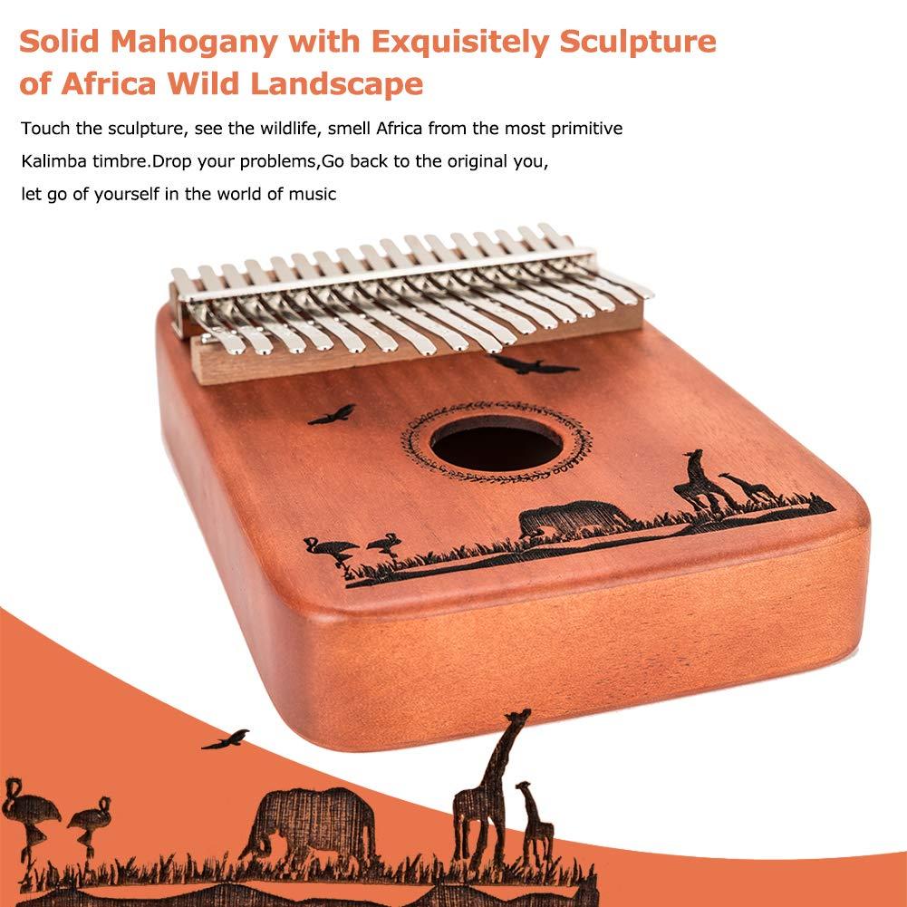 Kalimba 17 Keys Thumb Piano - Handmade Solid Mahogany Mbira Likembe Sanza with Tuning Hammer & Gift Accessories for Kids Adults Beginners Musicians by LOMEVE (Image #2)