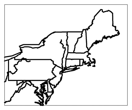 Amazon.com: Home Comforts Laminated Map - Blank Us Northeast Region on
