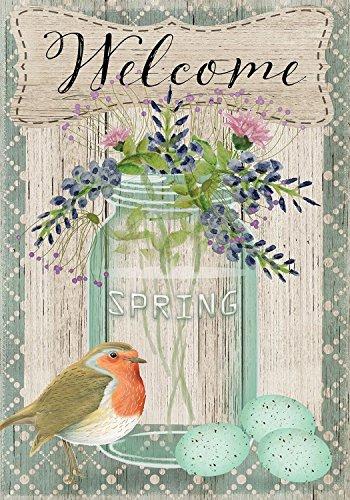 Springtime Welcome Floral Garden Flag Bird Eggs Mason Jar 12.5