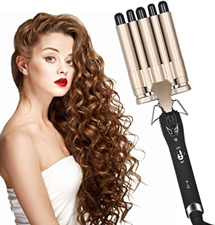 Hair Curler 5 Barrel Wand Hair Waver Curling Iron For Long Or Short Hair Professional Curling Wand Temperature Adjustable Heat Up Quickly Hot Tools Amazon Co Uk Beauty