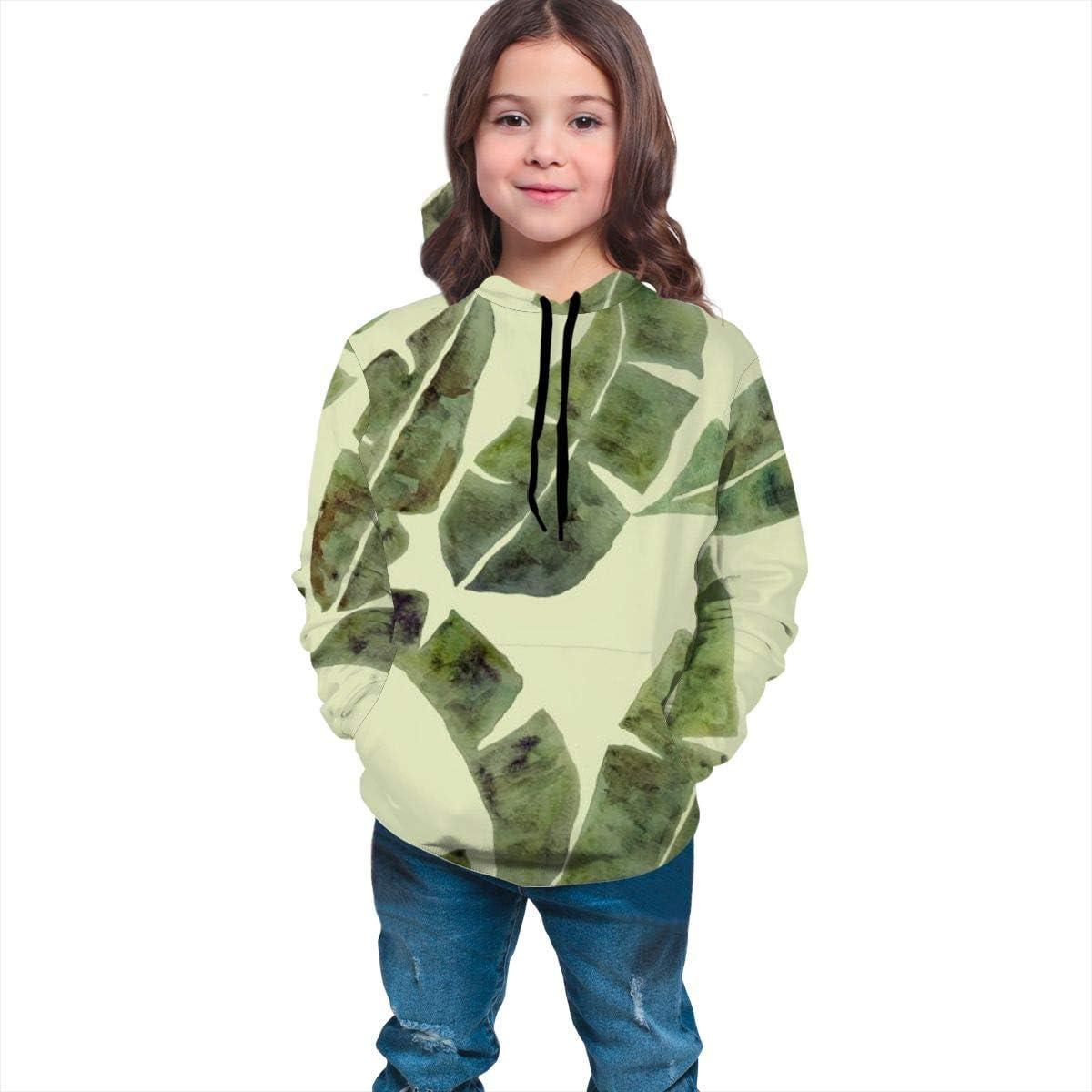 Kjiurhfyheuij Teens Pullover Hoodies with Pocket Banana Tree Leaves Fleece Hooded Sweatshirt for Youth Kids Boys Girls