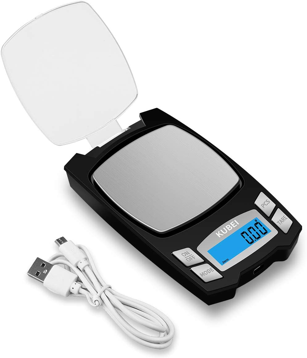 KUBEI Rechargeable Digital Pocket Scale 500g/0.01g, Mini Electronic Jewelry Scale, Portable Food Scale Jewelry Gram Scale, Small Milligram Scale with LCD Display