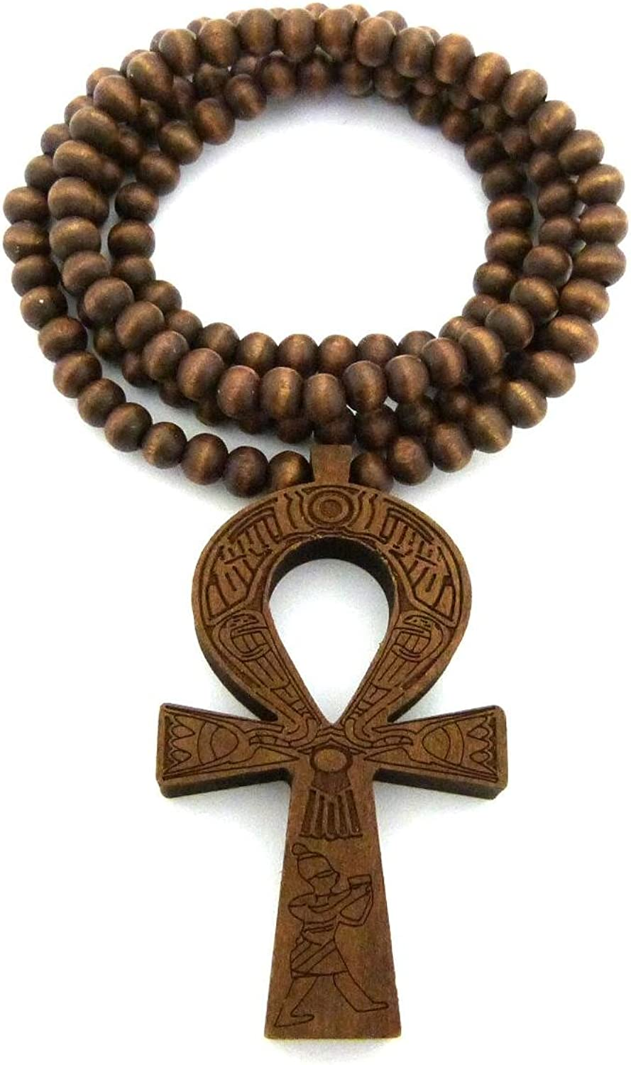 "Fashion 21 Egyptian Ankh Cross Pendant 6mm 27"" Stretchable Wooden Bead Necklace (3 Colors Available)"