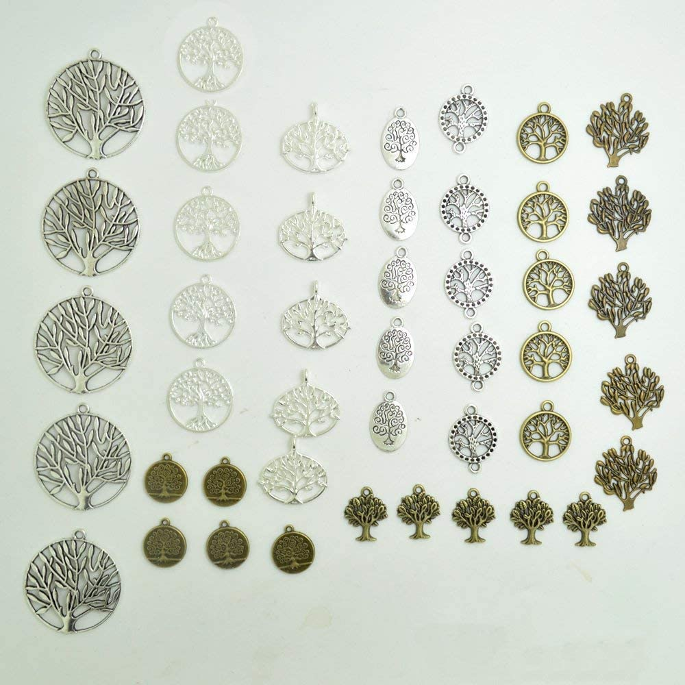 BronaGrand Pack of 50 Alloy Tree of Life Charms Pendents for Making Bracelet and Necklace