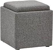 "Amazon Brand – Rivet Ross Modern Tweed Lift-Top Storage Ottoman Pouf, 17.7""W, Grey"