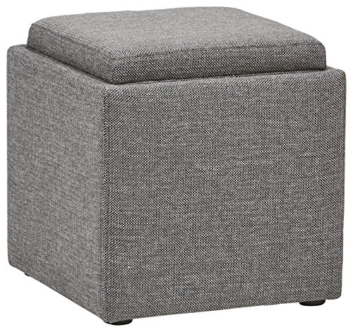 Rivet Ross Modern Tweed Lift-Top Storage Ottoman Pouf, 17.7