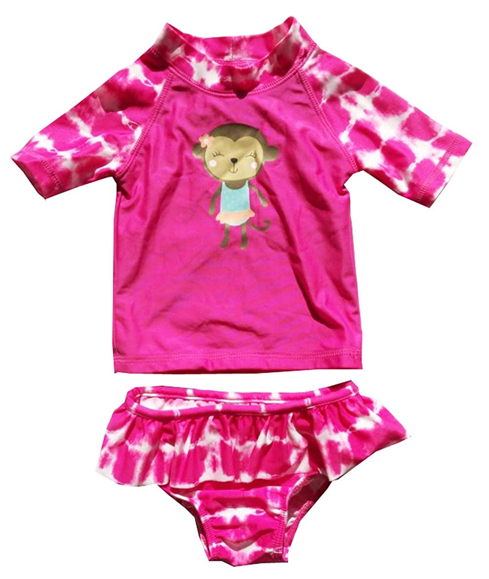 eKooBee Infant Baby Girls Two Piece Monkey Tankini Swimsuit Swim Set