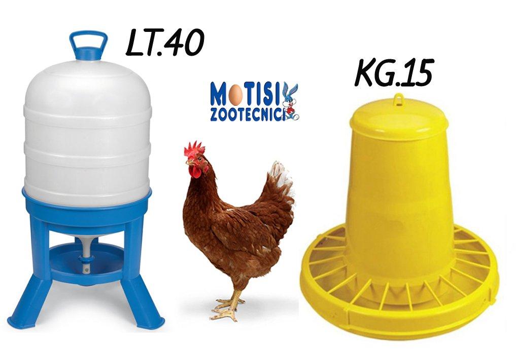 Novital Mangiatoia galline a tramoggia da kg.15 e Abbeveratoio a sifone da lt.40 per polli, galline, e avicoli in genere.