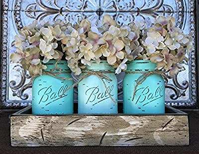 Mason Canning JARS in Wood Antique White Tray Centerpiece with 3 Ball Pint Jar - Kitchen Table Decor - Distressed Rustic - Flowers (Optional) - SEAFOAM, CARIB Blue Painted Jars (Pictured)