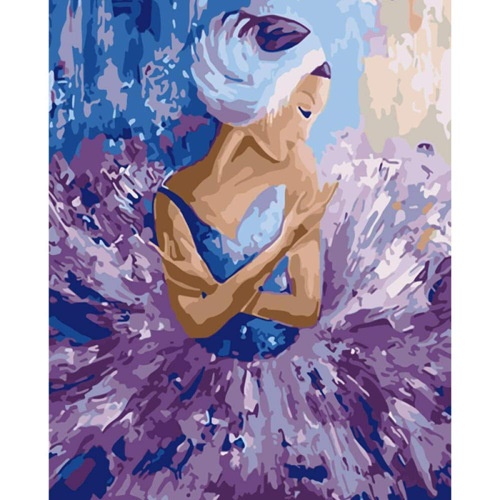 Pintar por Numeros Adultos Kit Falda Morada Ballet Girl Figura ...