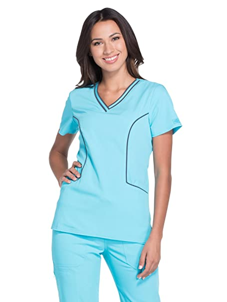 0f5e0f04b43 Amazon.com: Dickies Xtreme Stretch Women's V-Neck Solid Scrub Top ...