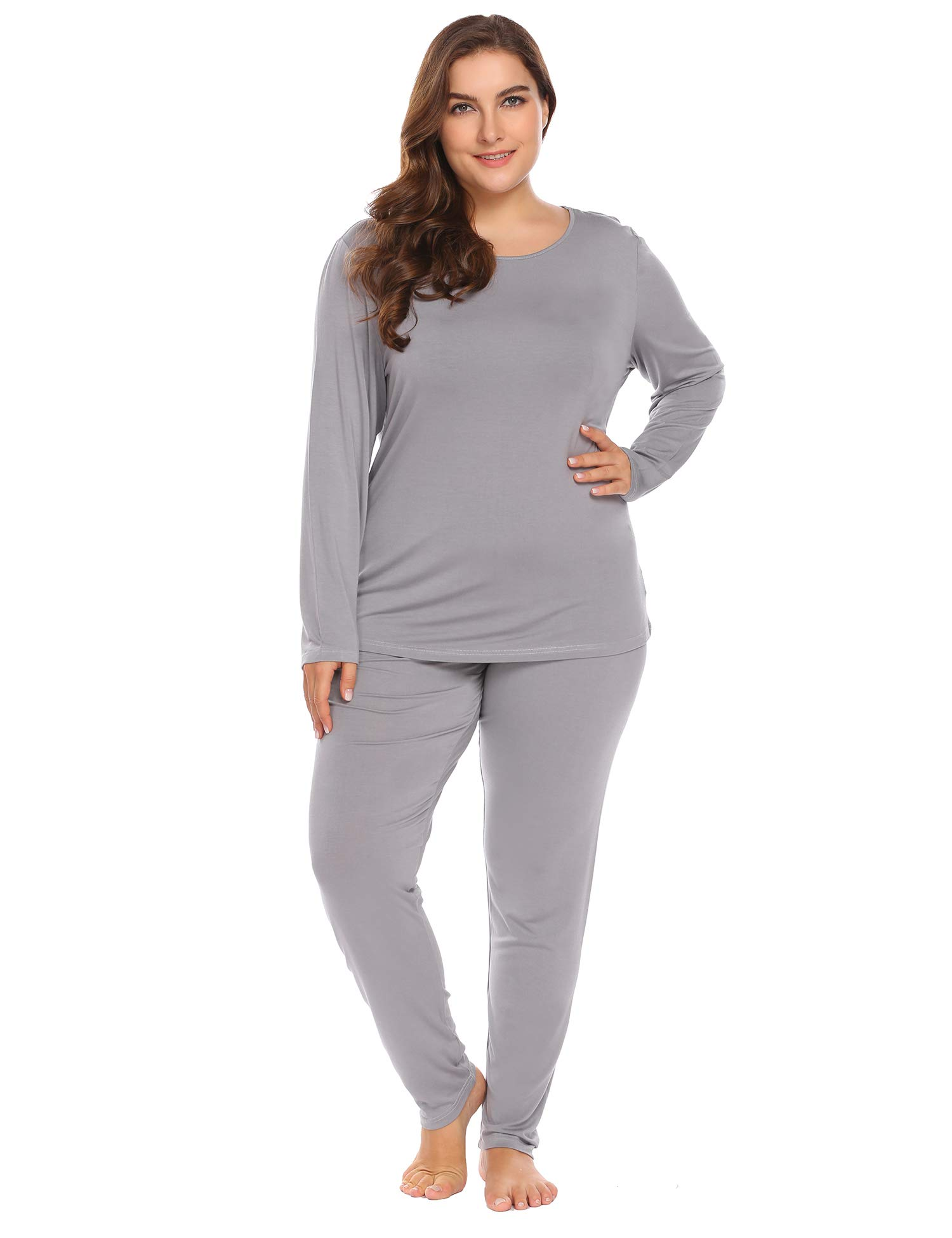 Women's Plus Size Thermal Long Johns Sets 2 Pcs Underwear Top & Bottom Pajama XL-6XL