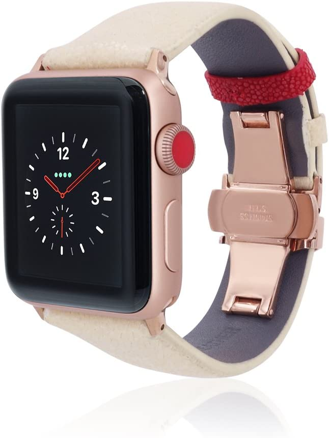 fitjewels Watch Band 42mm 44mm Stingray Leather Compatible with Apple Watch Series 3 Series 2 Series 1 iwatch Strap Replacement Band with Butterfly Clasp (White/Red, 42/44mm-Black)