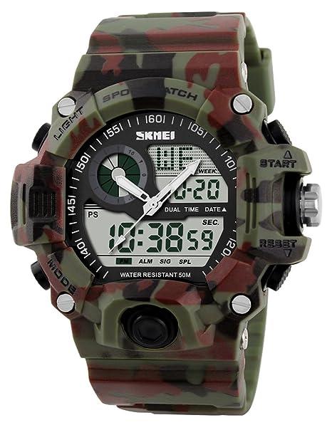 Skmei Military Reloj Digital LED Resistente al Agua Multifuncional Deporte Camuflaje electrónico Reloj de Pulsera: Amazon.es: Relojes
